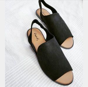 Shoes - //The Erin//black faux suede slingback sandal